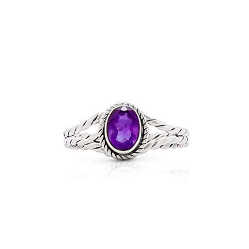 Sterling Silver Cabochon Amethyst Ring - Koral Jewelry Amethyst Ethnic Vintage Gipsy Delicate Oval Ring 925 Sterling Silver Tribal Boho Chic (8)