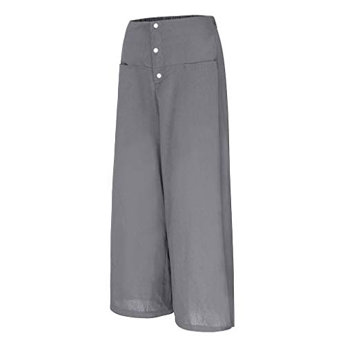 JOFOW Pants Womens Wide Leg Casual Linen Solid Loose Long High Waist Buttons Fashion Workwear Pajamas Bottoms Gift Trousers (2XL,Gray) ()