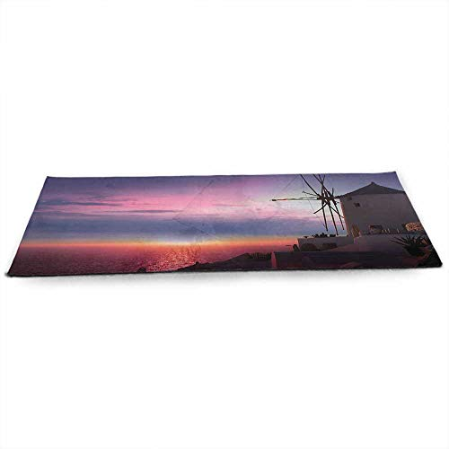 funkky Windmill Decor Eco Friendly Yoga Mat Beautiful Oia Village Santorini Island Greece Colorful Sky Idyllic Aegean Anti-Tear W24 x L70 Multicolor