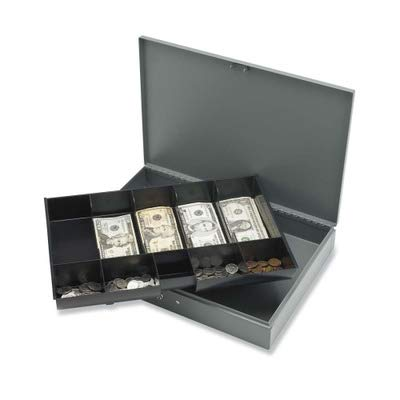 (Sparco Cash Box, with 2 Keys, 10 Compartments, 15-2/5 x 10-1/2 x 2-2/5 Inches, GY (SPR15500))