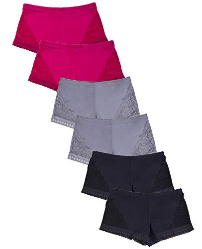 (Women's Premium Lace Side Trim Boyshort Panty (6 Pack) (Medium, Assorted1))