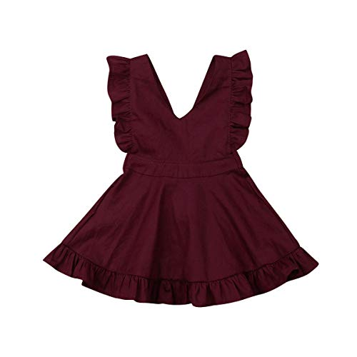 (VISGOGO Princess Toddler Kids Baby Girls Sleeveless Dress Bowknot Backless Solid Color Dress (Wine Red, 4-5)