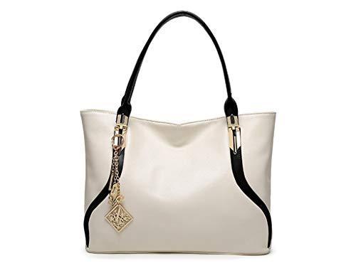 femme dos Mode 13 Bag au Tasche Einfache Tote 8in à porté Umhängetasche 4 Blanc main Tragen 00002 Große 5 Optional Neue 10 Handtasche Weiß Sac Tasche pour L 6in W H Farben 1in SwHH1Eq