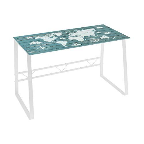 Mesa Escritorio de Cristal Blanca Vintage para Dormitorio Bretana - LOLAhome