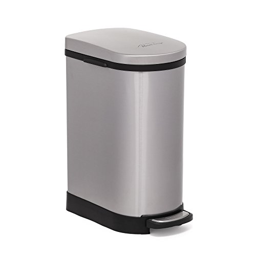 UPC 852668402210, Heim Concept Step Trash Can with Slow Down Close, 2.6-Gallon, Brushed Stainless Steel