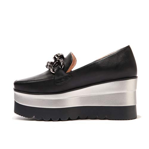 Zapatos Mocasín Negro Pisos Con De Para Fashion Tacón Plataforma Creepers Mujer on Casuales Baja Slip 4r4qxZw