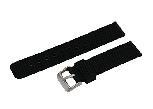 Silicone Bracelet Replacement Band for Sport Dive Watch Neoprene Rubber in Black ()