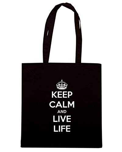 Speed Shirt Borsa Shopper Nera TKC1181 KEEP CALM AND LIVE LIFE