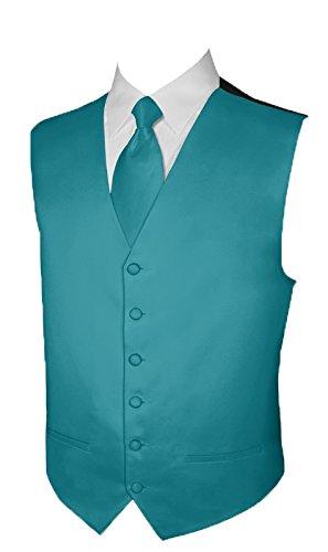 Tuxedo Vest TEAL Vest and NECKTIE Satin