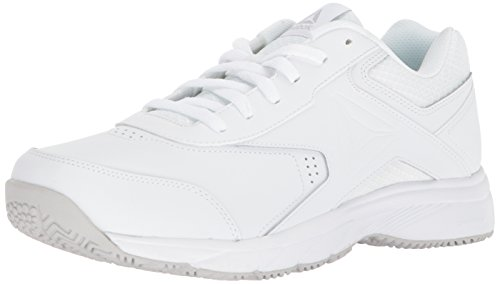 Freedom Synthetic Leather - Reebok Men's Work N Cushion 3.0 Sneaker, White/Steel, 8 4E US