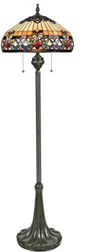 "Quoizel TFBF9362VB Belle Fleur Tiffany Floor Lamp, 3-Light, 300 Watts, Vintage Bronze (62"" H x 21"" W)"