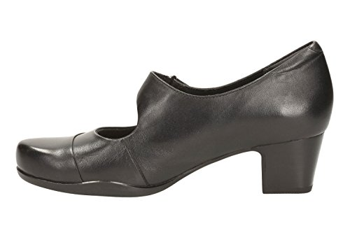 de Hees zapatos Mary mujer de para Rosalyn cuero negro tacón Bloque Clarks Wren A5vfWaSqq