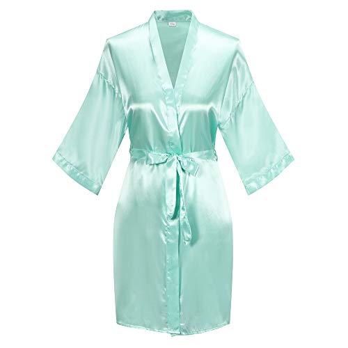 (Women's Short Kimono Robe Pure Color Silky Bathrobe Bridal Party Dressing Gown, Mint Green, L)
