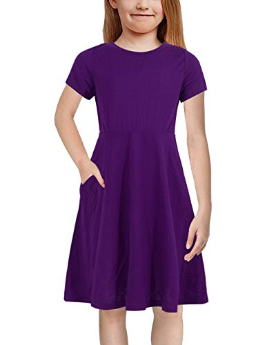 GORLYA Girl's Short Sleeve Floral Print Casual Fit and Flare Party Dress with Pockets 4-12 Years (GOR1002, 9-10Y, Purple Color)