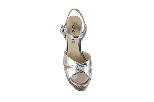 CAFè NOIR LG918 multiantracite argento sandali donna tacco plateaux cinturino 40