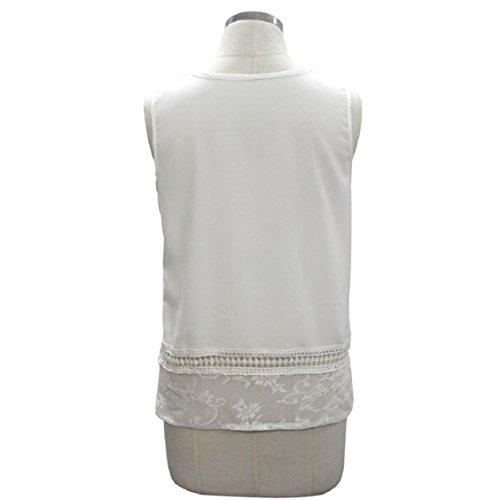 Ouneed Mujeres de encaje sin mangas Blusa de empalme camisetas Blanco