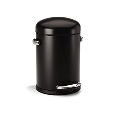 simplehuman Round Retro Step Trash Can, Black Steel, 4.5 L / 1.2 Gal