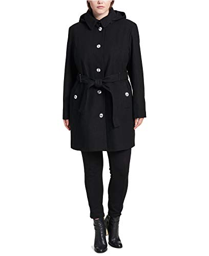 (Calvin Klein Women's Plus Size Hooded Belted Walker Coat Black 2X )