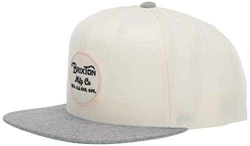Brixton Men's Wheeler Medium Profile Adjustable Snapback HAT, Heather Grey/Off White, O/S -