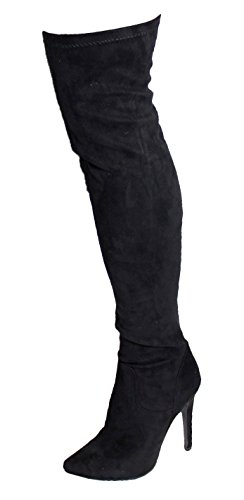 Womens Suede Look Thigh Over The Knee Long Boots Stiletto Heel Zip Side Shoes (36 / 3 UK, Black)