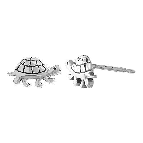 Boma Jewelry Sterling Silver Cute Turtle Stud Earrings (Childrens Turtle Earrings)