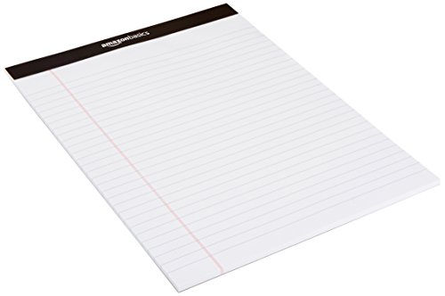 Large Product Image of AmazonBasics Legal/Wide Ruled 8-1/2 by 11-3/4 Legal Pad - White (50 sheets per pad, 12 pack)