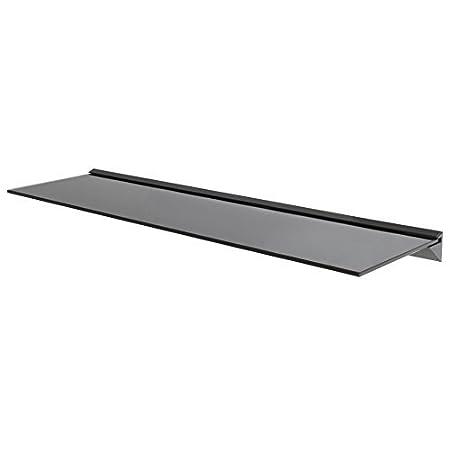 Wandregal aus Glas, ideal für Badezimmer, Küche, Wohnzimmer, Optik: schwebend, Schwarz, Schwarz , 60 cm ideal für Badezimmer Küche King