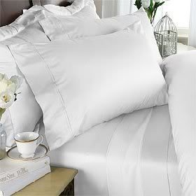 Egyptian Cotton Factory Outlet Store Rayon from Bamboo 4 (Four) Piece Luxurious 1500 Thread Count Cal King Size Goose Down Alternative Comforter Set, White Solid Color, 1500 TC - 750FP - ()
