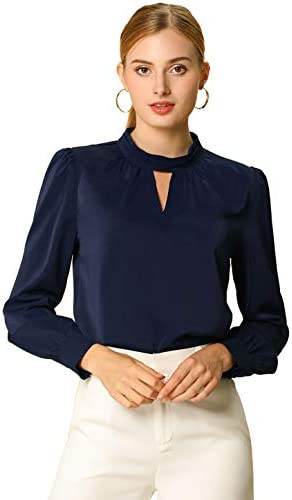 Allegra Ok Women's Work Office Shirt Keyhole Elegant Stand Collar Long Sleeve Chiffon Blouses