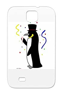 New Champagne Year Funny Comic Penguin Black For Sumsang Galaxy S4 TPU Case