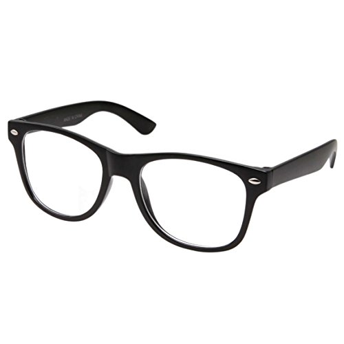 Retro NERD Geek Oversized BLACK Framed Clear Lens Eye Glasses for Men Women