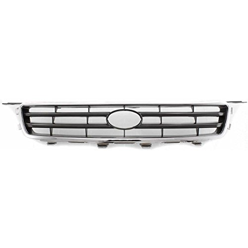 - Grille Compatible with Toyota Camry 00-01 Chrome Shell/Painted-Silver Black Insert