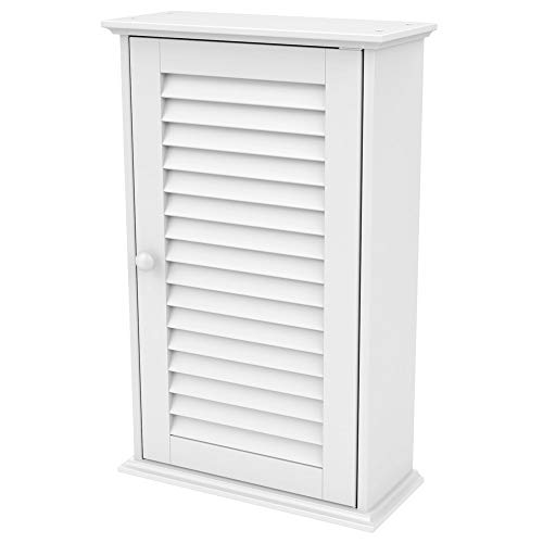 Topeakmart Bathroom/Kitchen Wall Mounted Single Louvered Door 3 Tier Adjustable Storage Shelf -