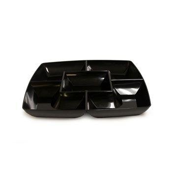 (Black Square Plastic Compartment Serving Tray 12-inch)
