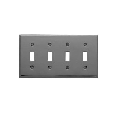 Baldwin 4772.150.CD Classic Square Beveled Edge Quad Toggle Switch Plate, Satin Nickel