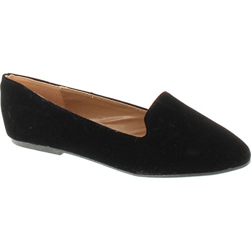 Forever Diana-81 Ballet Loafer-Flats,Black Suede,7.5