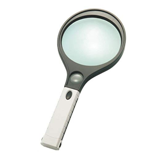 (ElectroOptix 4X 10x Handheld Magnifier Glass, 4 LED Lighting, 120mm 30mm Dual Lens Magnifying Glass for Reading and Repairing Jewelry Maps, Green)