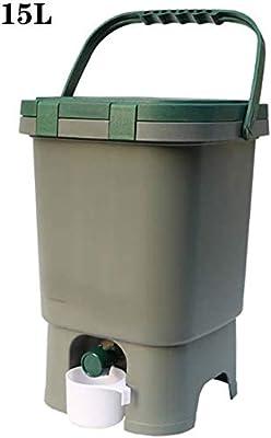 CRZJ Contenedores de compostaje de jardín, Contenedor de Basura de Basura orgánica compostada en jardín Impermeable Previene alimañas de plástico al Aire Libre Compost de Basura Verde, 15L: Amazon.es: Hogar