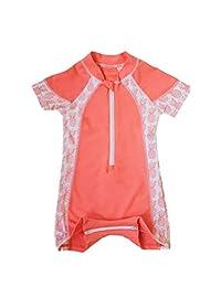 c9e1df2a14554 Kid's Swimwear Easy Zipper Access Baby and Toddler One Piece Short Sleeve Swimsuit  Rashguard UPF 50