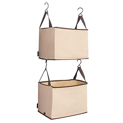 STORAGE MANIAC 2-Shelf Hanging Closet Organizer, Heavy-Duty Hanging Shelf with Hooks, Beige