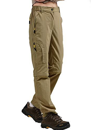 (Women's Outdoor Quick Dry Convertible Pants Water-Resistant Hiking Fishing Zip Off Cargo Pants Trousers Khaki )