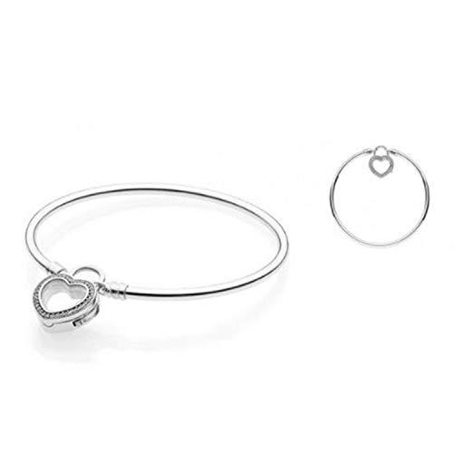 Sparkling Floating Heart Locket Bangle Bracelet 100% 925 Sterling Silver Bangle Bracelet Fit European Charms DIY -