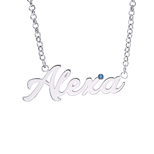 AsiaRhyme 925 Sterling Silver Personality Name Necklace Pendant with generated Stone Custom Arbitrary Name(A-Silver Name with Birthston)