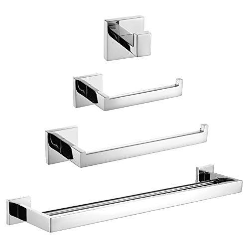 TURS Contemporary 4-Piece Bathroom Hardware Set Towel Hook Towel Bar Toilet Paper Holder Tower Holder, SUS 304 Stainless Steel Wall Mounted, Polished Q7zuheP-B