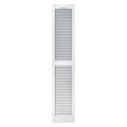 Builders Edge 12 in. x 60 in. Louvered Vinyl Exterior Shutters Pair #001 White - Vinyl Exterior Shutter