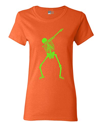 Beach Open Ladies Dabbing Skeleton Halloween Funny Humor Costume DT T-Shirt Tee (Large, Orange) -