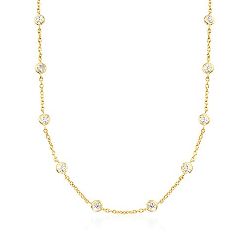 Ross-Simons 5.00 ct. t.w. CZ Station Necklace in 18kt Yellow Gold Over Sterling (Yellow Gold Station Bracelet)