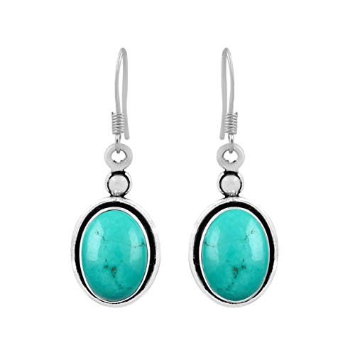 12.00ctw, Genuine Turquoise & 925 Silver Plated Dangle Earrings