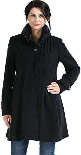 Momo Maternity Outerwear Women's Jessie Wool Pleated Swing Coat Pregnancy Winter Jacket