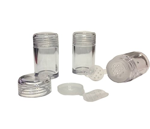 6 Packs Clear Plastic Loose Powder Jar 10 ml Empty Face Powd